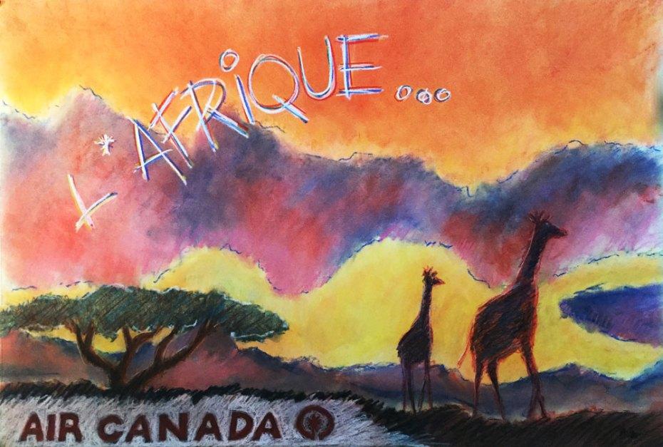 «L'Afrique», illustration publicitaire au pastel sec