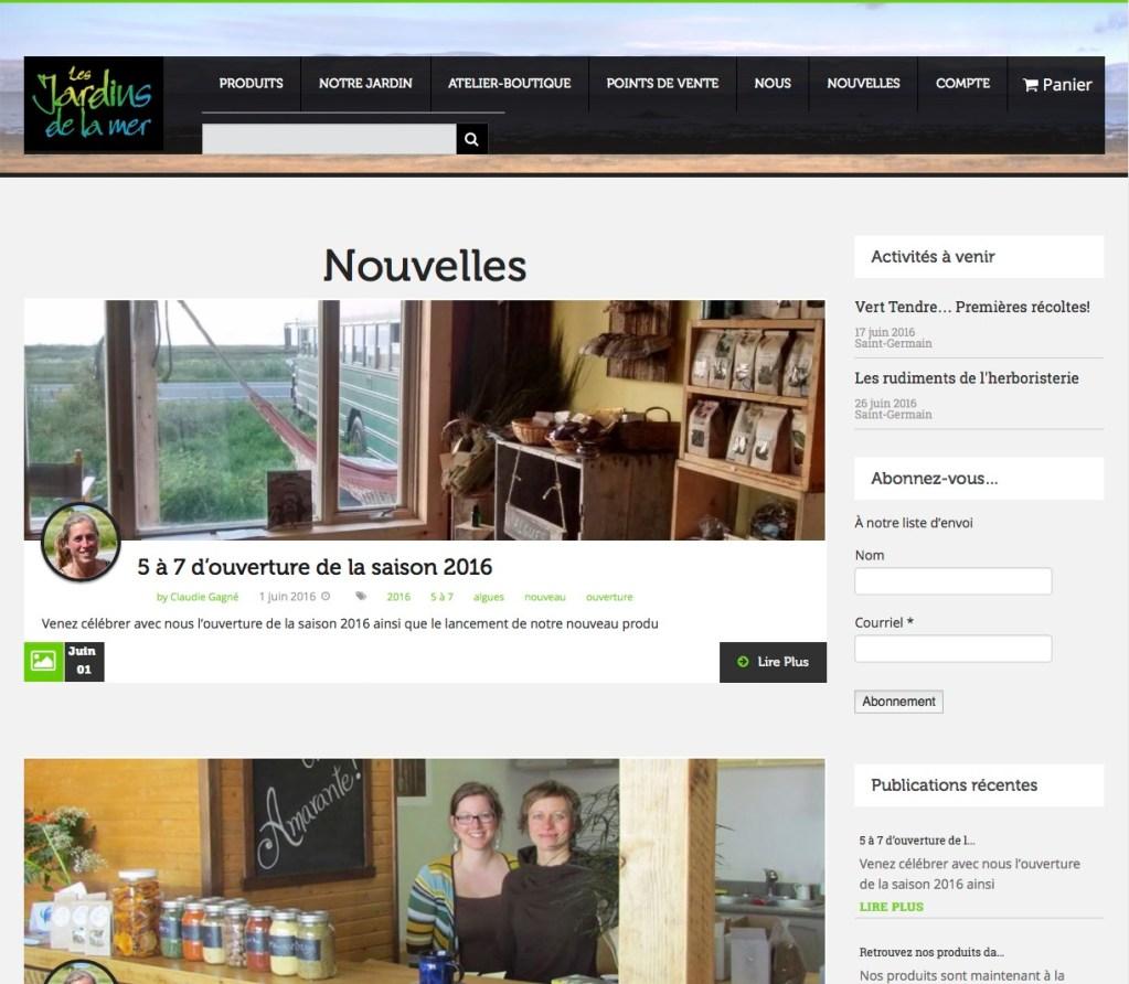 Page de publication de nouvelles.