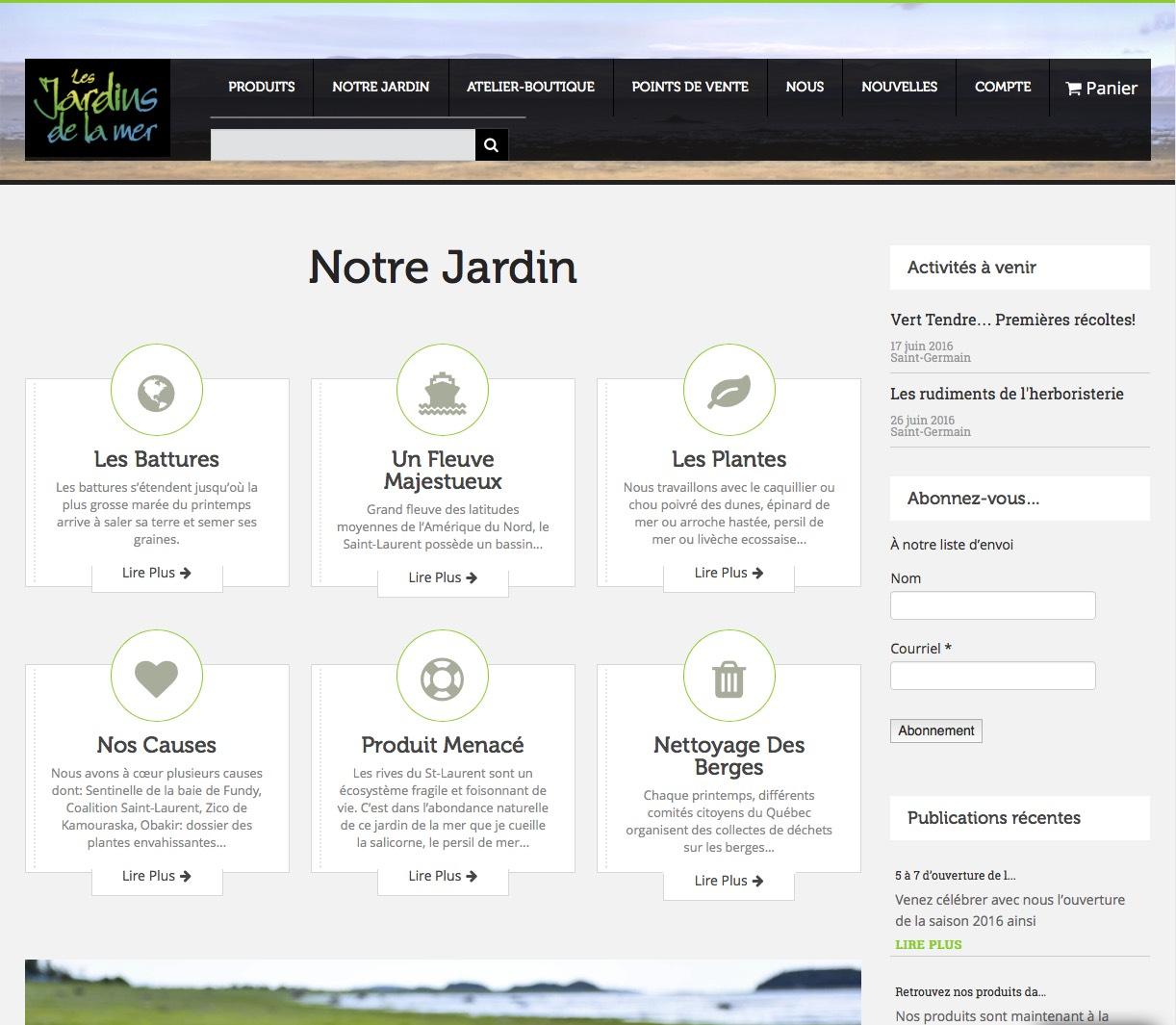 Page d'information avec diaporama d'images.