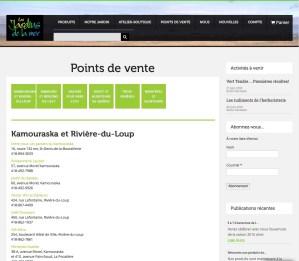 Page de liste de points de vente avec liens vers leurs sites respectifs.