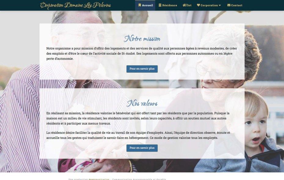Section de la page d'accueil