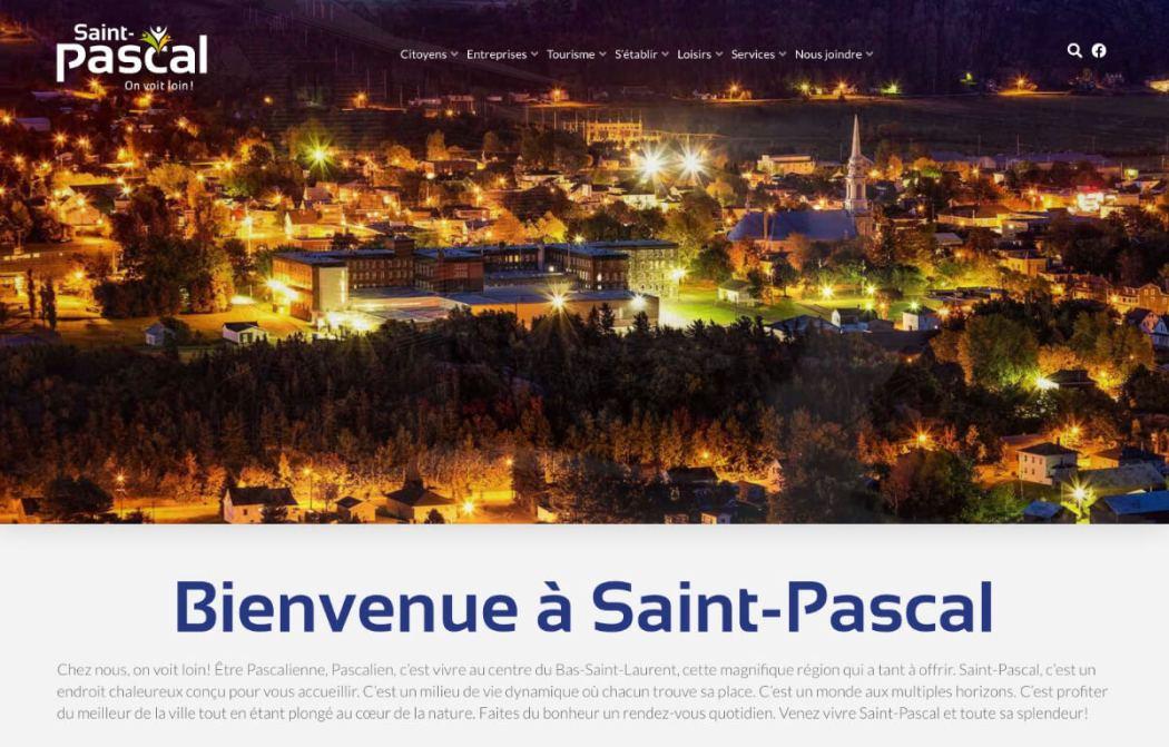 Page d'accueil du site web de Ville Saint-Pascal
