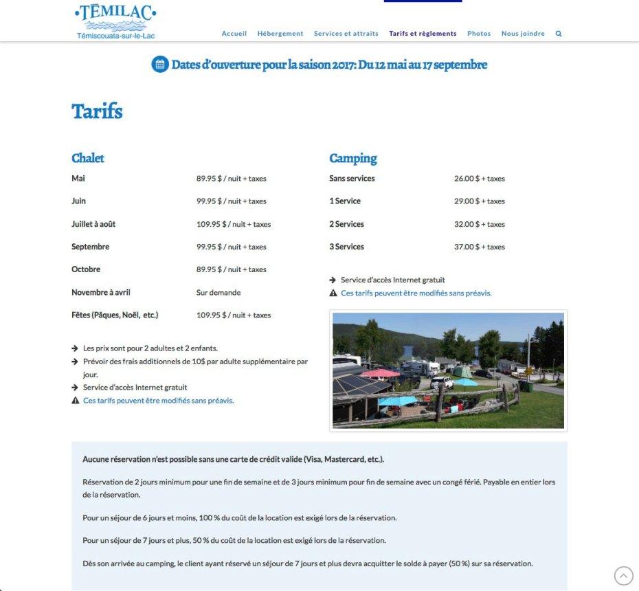 Page tarifs et règlements (suite)