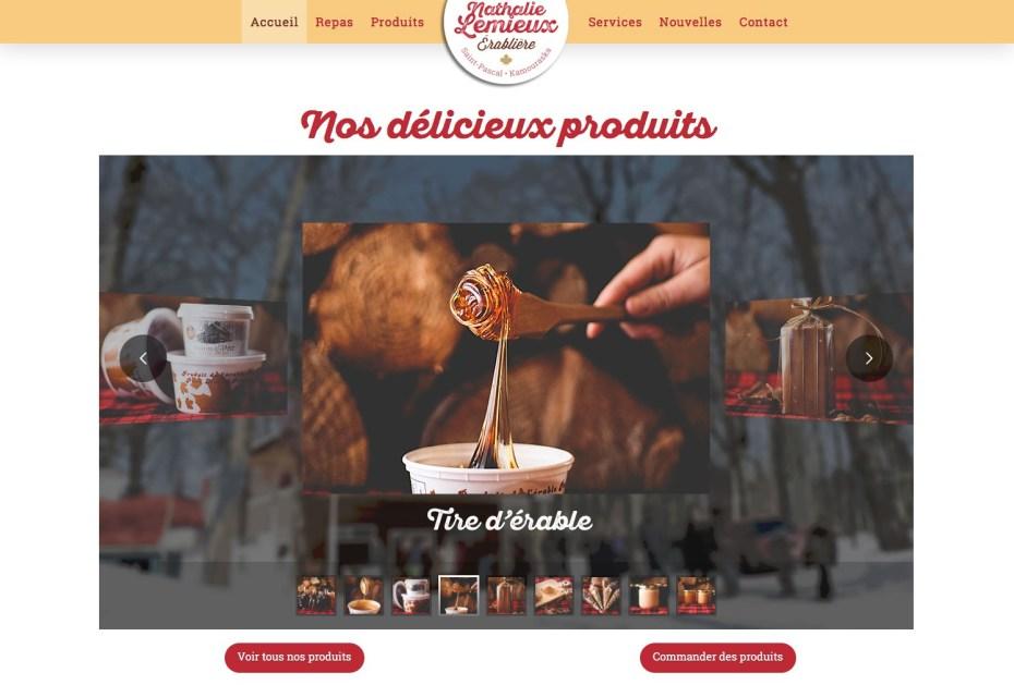 Page d'accueil - diaporama de produits