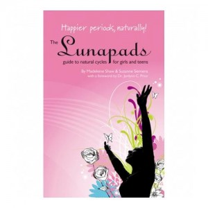 cover of small booklet, teen menstrual guide. black sillouette of young woman reaching upwards