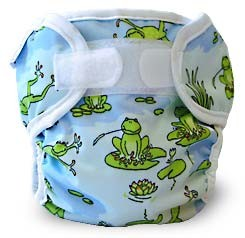 blue diaper wrap with frogs and lily pads
