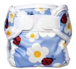 light blue diaper wrap with patterns of white daisies and ladybugs