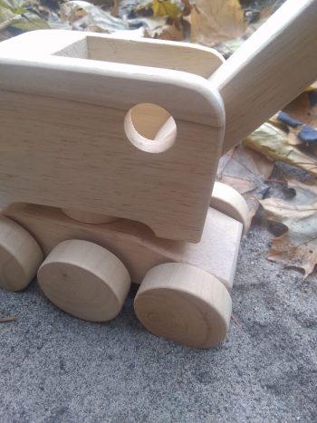 wooden toy steam shovel detail