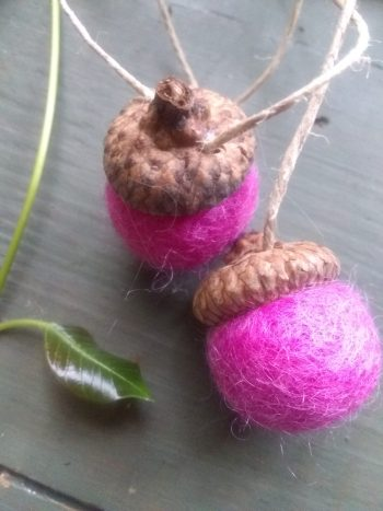 two wool felted acorn ornaments, hot pink