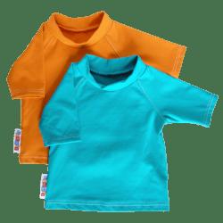 turquoise and tangerine infant sunshirts