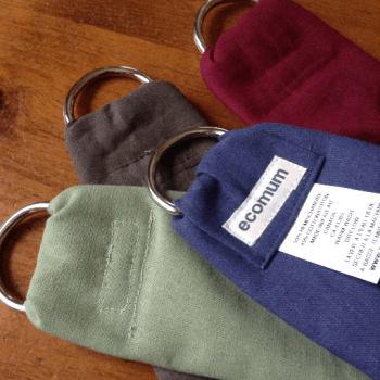 four hemp sling ring ends in celery, dark green, steel blue and burgundy