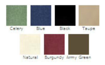 colour swatch of hemp options:celery, blue, black, taupe, natural, burgundy, army green