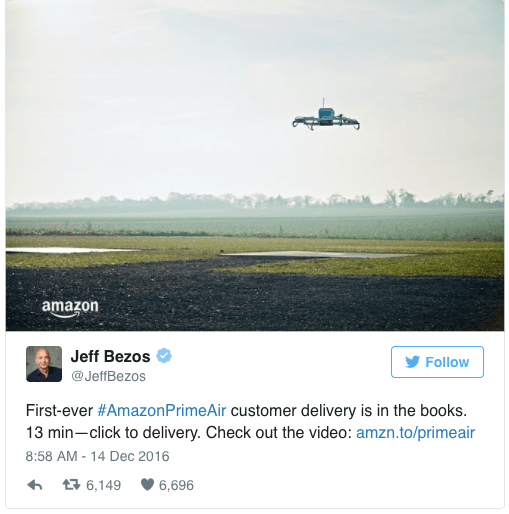 Drone delivery from Amazon
