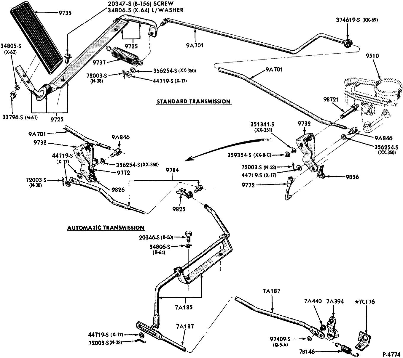 65 Econoline Automatic Transmission linkage parts manual