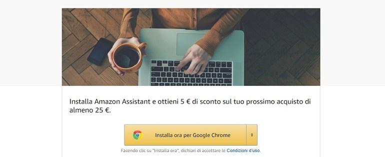 con amazon assistant ricevi un buono sconto di 5 euro