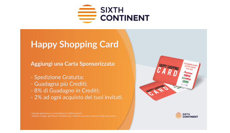 offerta sixthcontinent happy shopping card