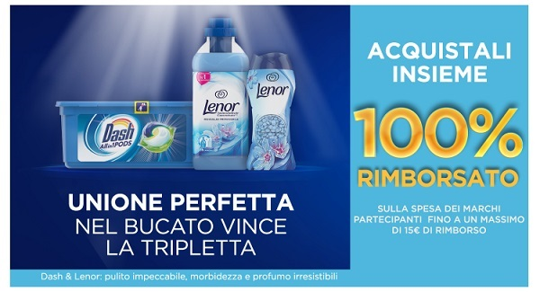 cashback dash pods, lenor ammorbidente e lenor perle