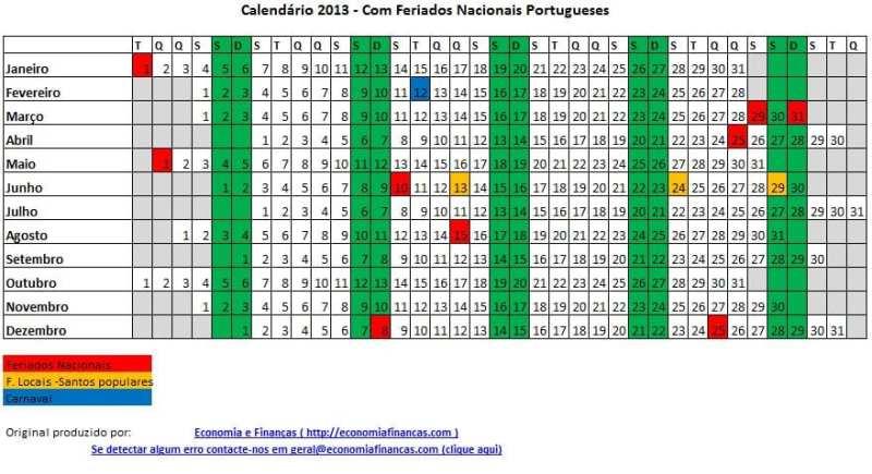 Calendário 2013 para impressão Excel – Portugal
