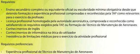 Recrutamento Tecnico de manutenção de aeronaves - TAP