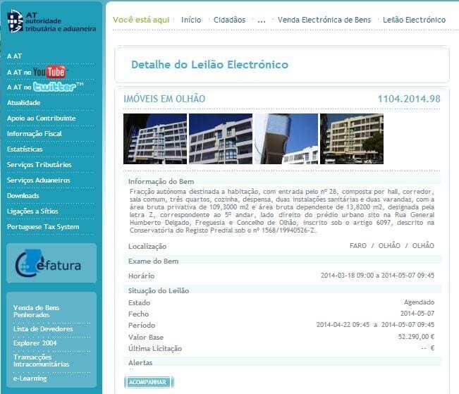 leilões eletrónicos do Portal das Finanças