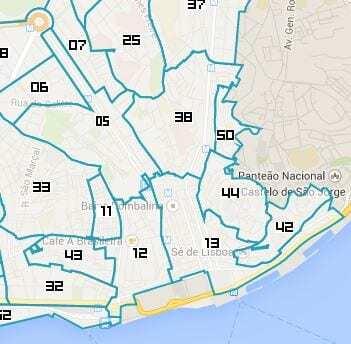 Zonas exceção Circular Lisboa