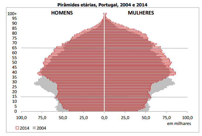 Pirâmide etária 2004 2014 Portugal