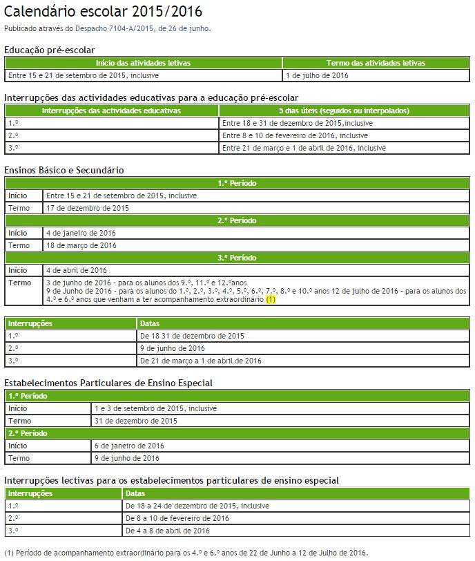 Calendário Escolar 2015 2016