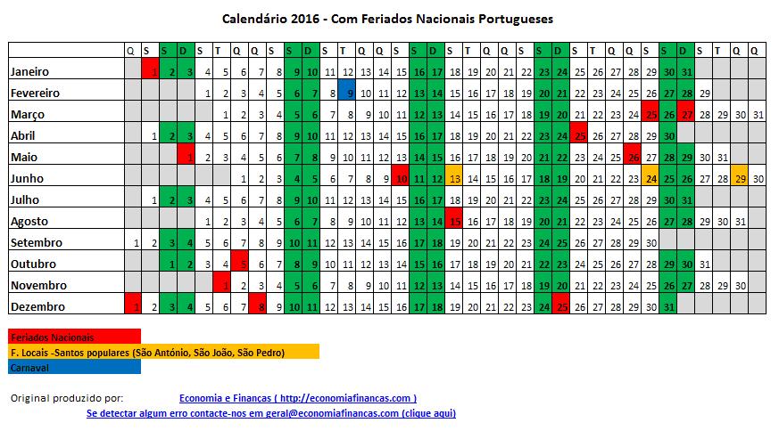 Calendário 2016 para impressão em Excel