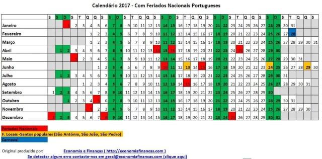 Calendário 2017 para impressão em Excel