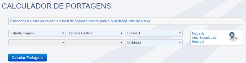 Calculador de Portagens nas Autoestradas em Portugal