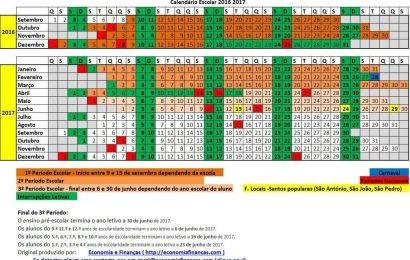 Calendário Escolar 2016 2017 em Excel