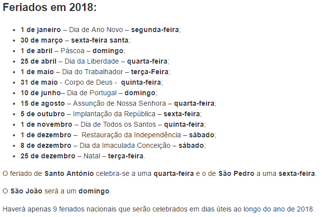 Feriados em 2018 (Portugal)