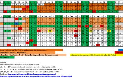 Calendário Escolar 2018 2019 em Excel