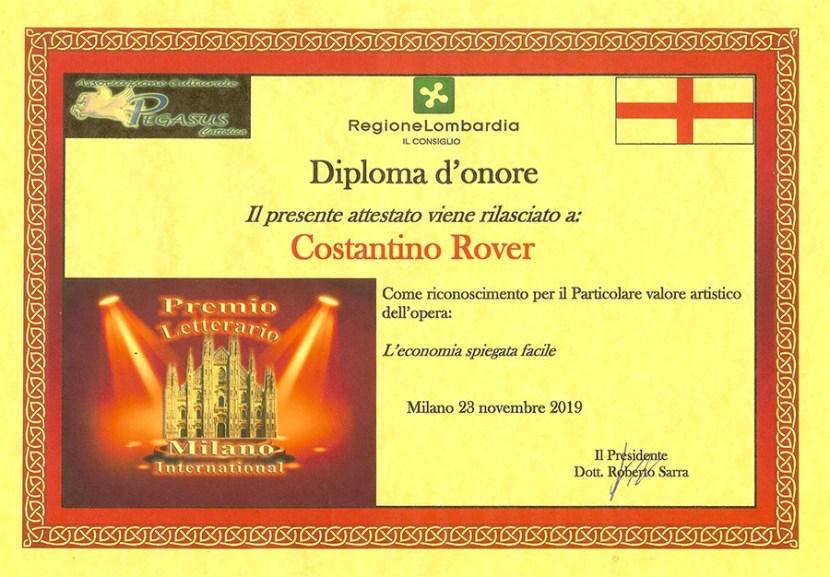 Diploma D'onore al Premio Letteraio Milano International