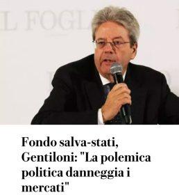 """جنتيلوني: """"الجدل السياسي يضر بالأسواق"""
