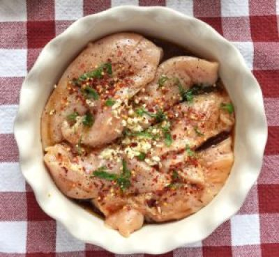 Spicy Soy Sauce Basil Chicken Raw