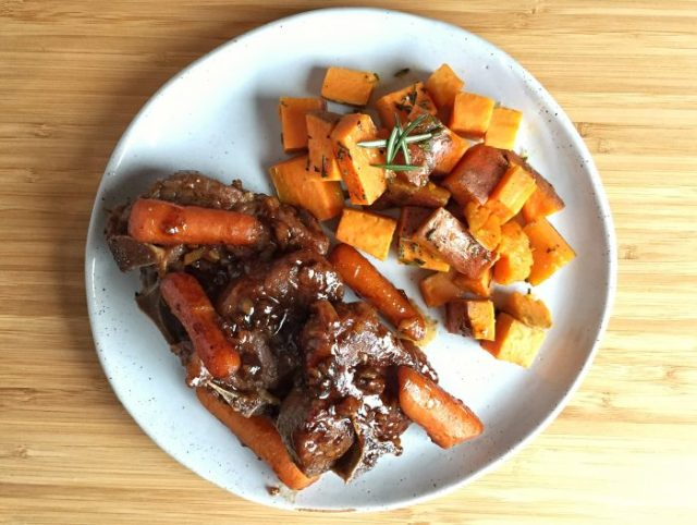 Easy Braised Guinness Lamb Chops with Rosemary Sweet Potatoes