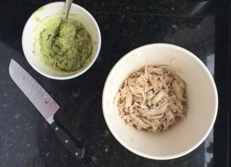 Slow Cooker Avocado Chicken Salad Mixing