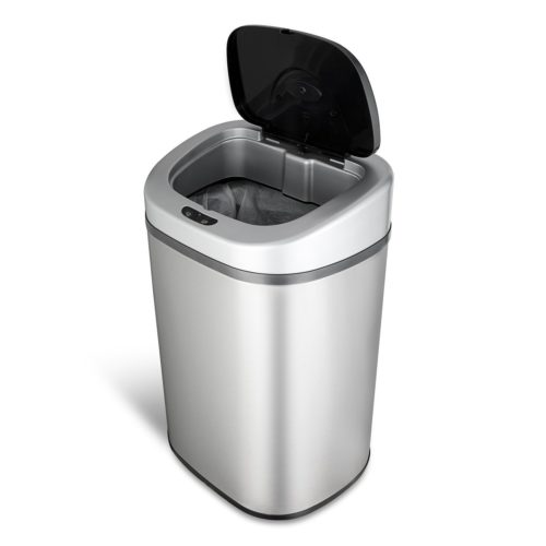 NINESTARS DZT-80-4 Automatic Touchless Motion Sensor Oval Trash Can