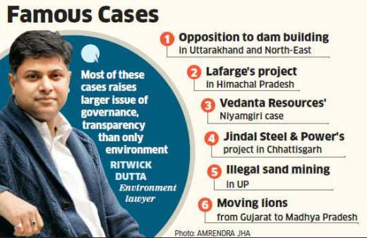 Environment lawyer Ritwick Dutta has blocked big projects like bauxite mining by Vedanta Resources and Posco's steel project in Odisha.
