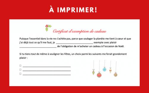 Certificat exemption cadeau