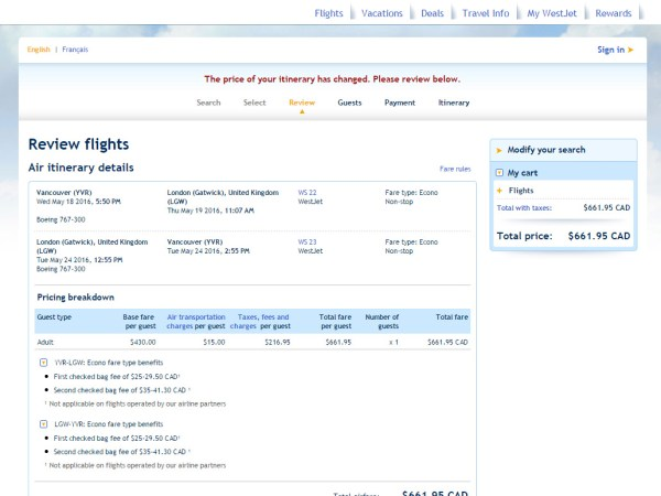 Vancouver to London (Gatwick) for $214 CAD non-stop one way with Westjet!
