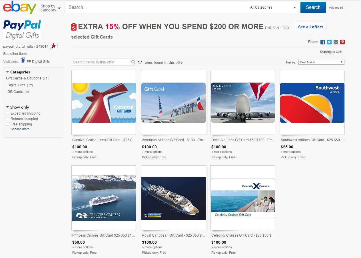 Quick! 15% Off American, Delta, and Southwest Gift Cards when you spend $200+ on eBay