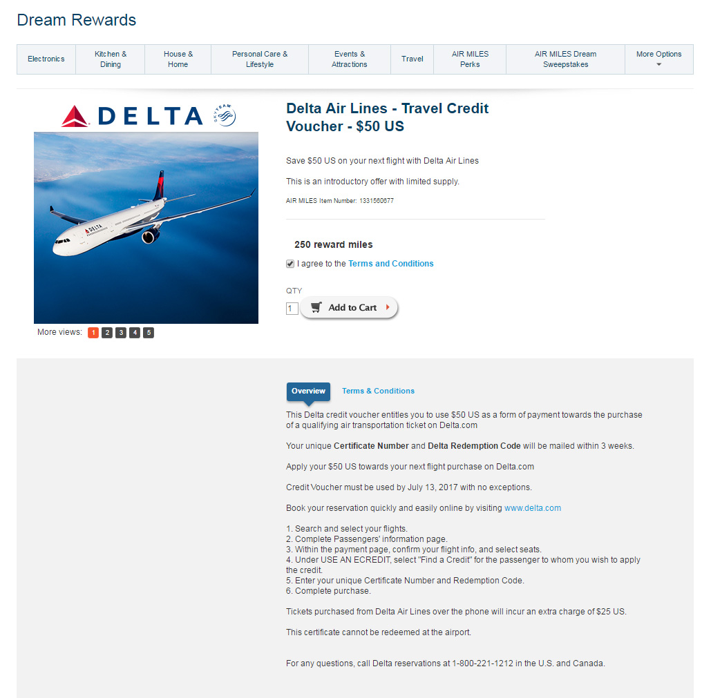 Good Air Miles (Canada) Redemption – $50 USD Delta Travel Credit Voucher
