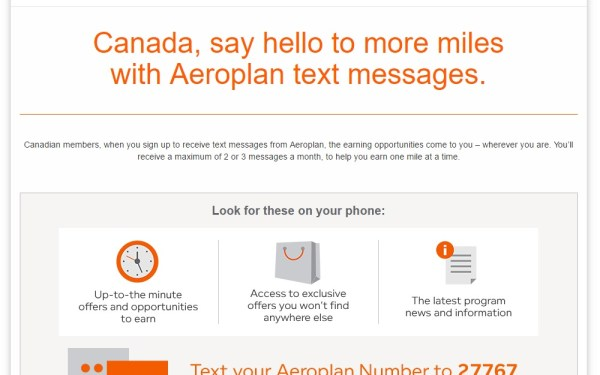 100 Aeroplan Miles for Signing up for Texting