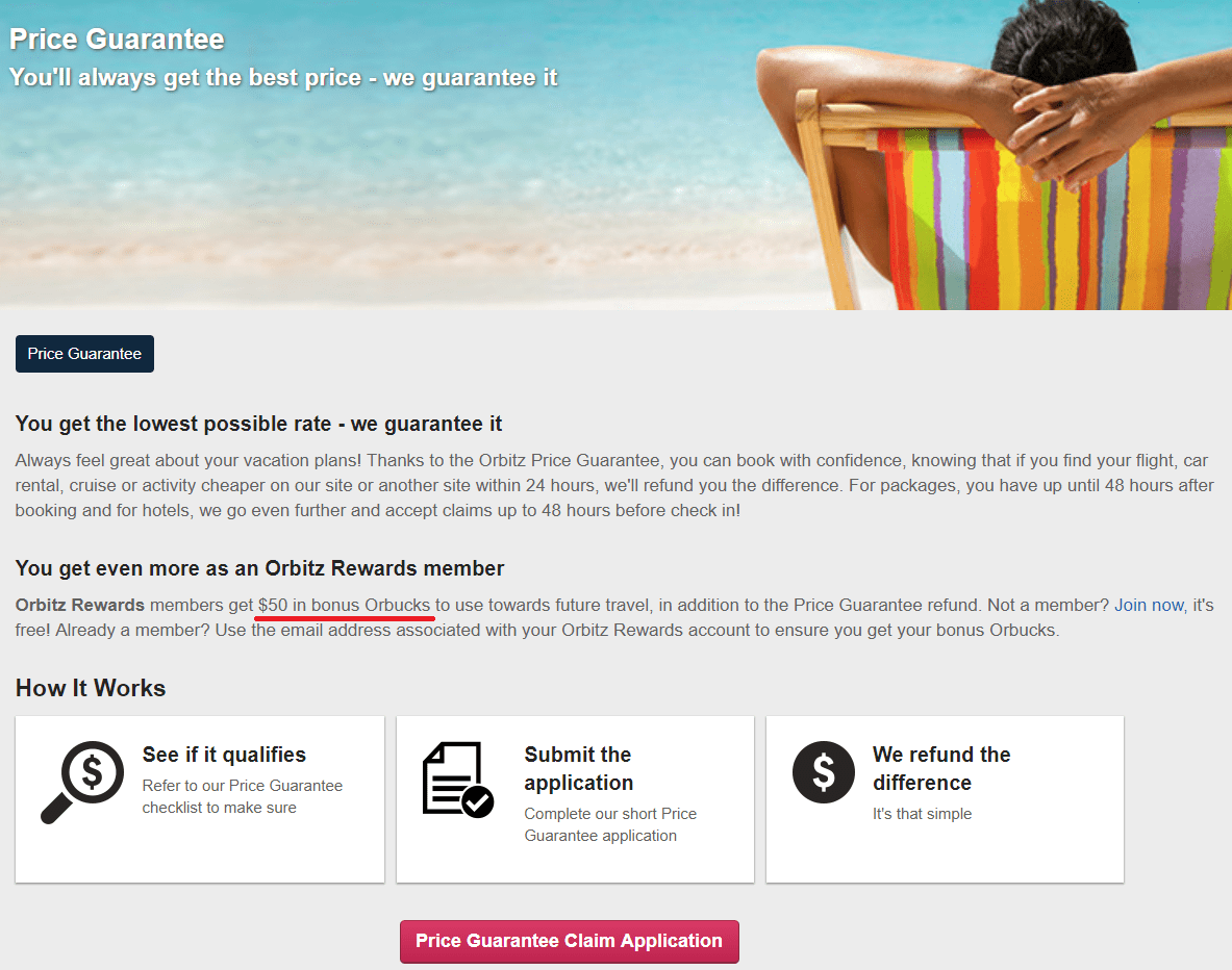Did Orbitz quietly remove $50 bonus Orbucks from their Price Guarantee?
