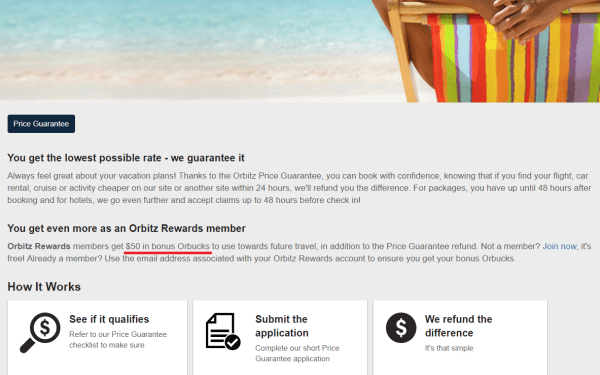 Did Orbitz quietly remove $50 bonus Orbucks from their Price Guarantee?
