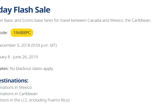 WestJet 15% off basic and econo fares to US Mexico and Caribbean – No Blackout Dates!