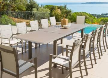 Table De Jardin Aluminium Plateau Ciment | Table Et Chaises De ...