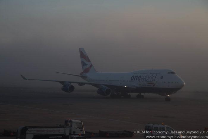 British Airways Boeing 747-400 emerging from the fog